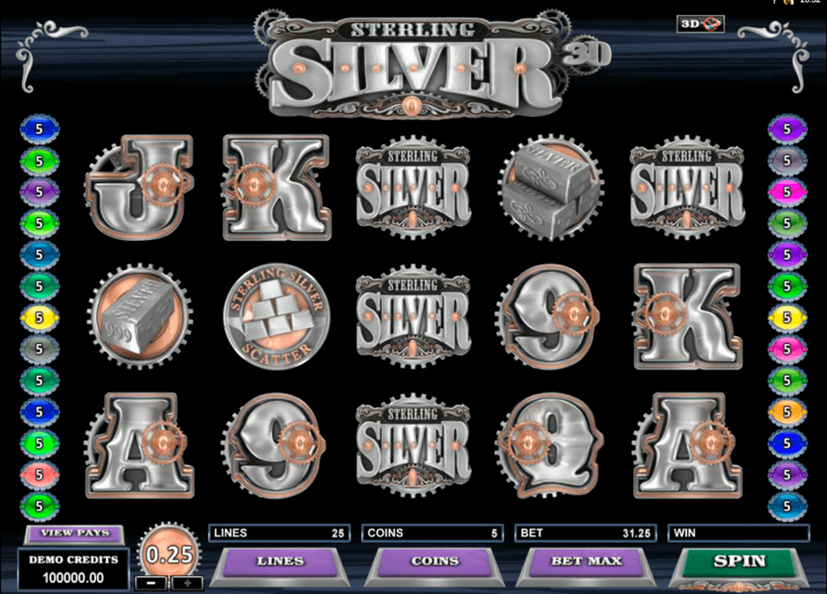 sterling silver 3d microgaming pacanele