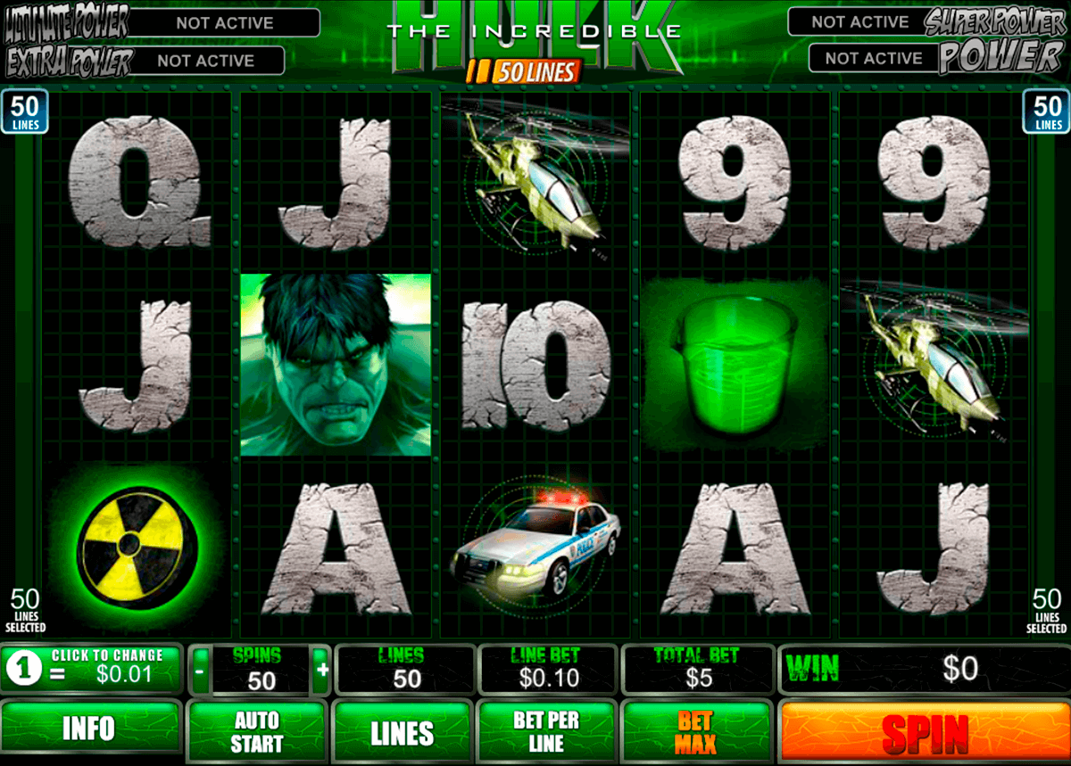 the incredible hulk 50 lines playtech pacanele